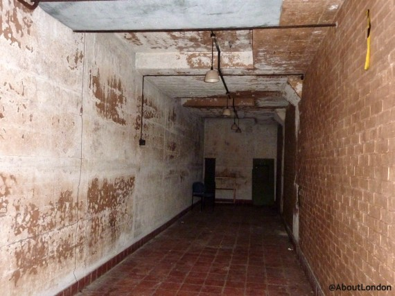 This tiled room was used to store batteries.