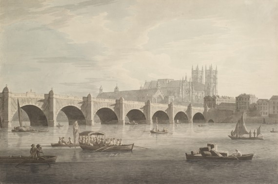Joseph Farrington Westminster Bridge Ink and watercolour on paper, made in 1789-90 © Joseph Farrington/Museum of London