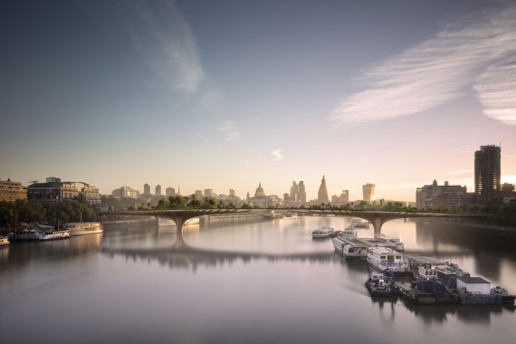 Thomas Heatherwick Visualisation of the proposed Garden Bridge between the Southbank and Temple Pigment print, made in 2014 © Arup