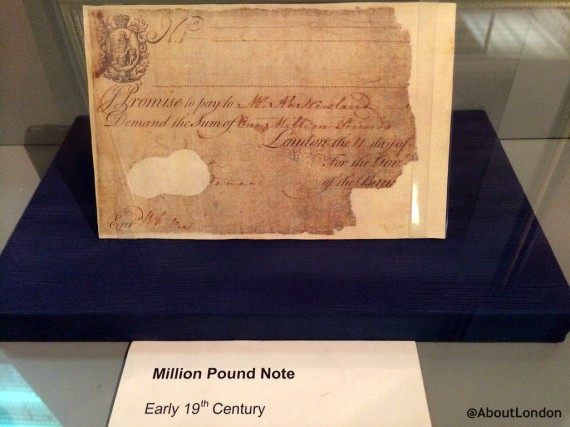 It's a shame there's not better signage to find this, and there isn't a copy of the £100 million note used today. This was used in the Bank during the 18th century for internal accounting.