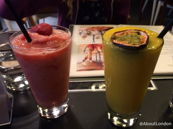SUDA Smoothie: Strawberries blended with banana, grenadine and fresh lime juice Tropical Smoothie: Fresh papaya and passion fruit blended with orange juice