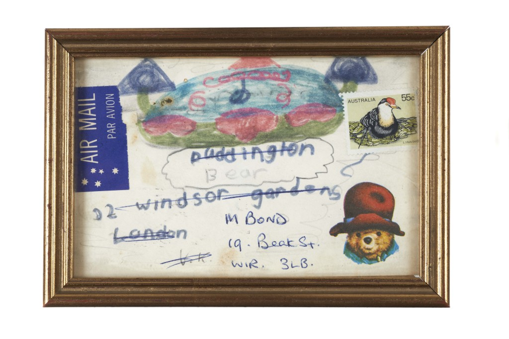 Fan mail letter from Australia addressed to 'Paddington Bear, 32 Windsor Gardens, London' eventually found its way to author, Michael Bond. Image © Museum of London.