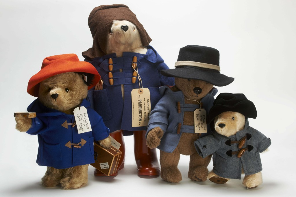 Paddington Bears around the world. L-R: Germany, UK, USA, Japan. Image © Museum of London