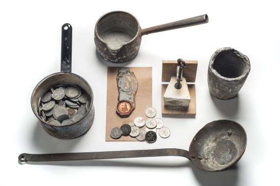 Counterfeiting and Forgery: Implements used for counterfeiting seized by Metropolitan Police © Museum of London