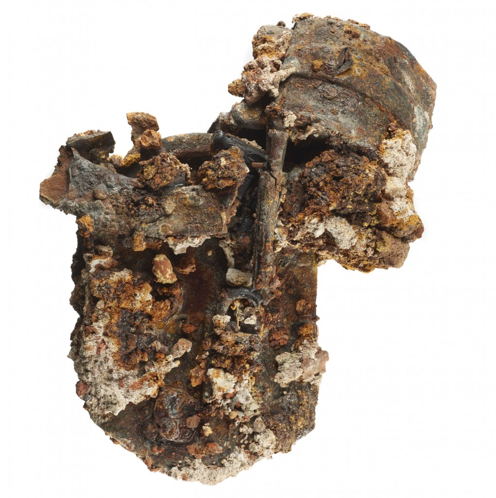 2 iron padlocks and 1 key melted together in a lump during the Great Fire of 1666. museum of London id BPL95[119] This image may be used free of charge for the purpose of promoting or reviewing the Museum of London exhibition 'Fire! Fire!' 2016-2017. All other uses must be cleared with the Museum of London picture library.