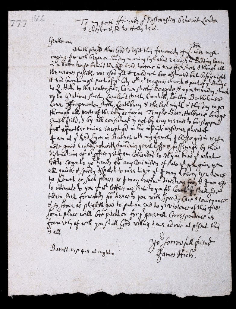 Letter from Post Office worker James Hicks (c) Museum of London