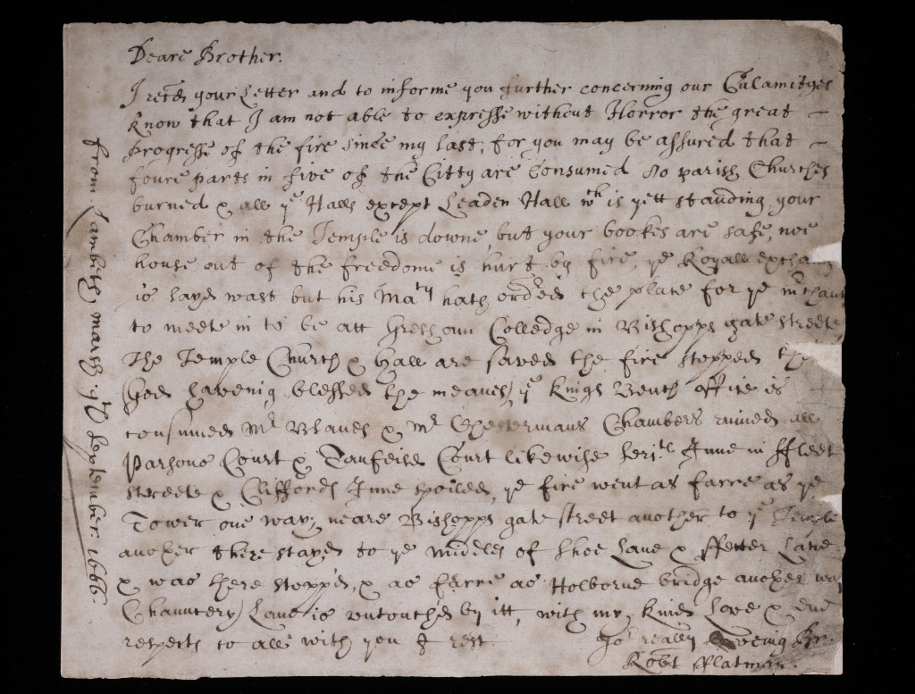 Letter written by Robert Flatman to his brother, Thomas (c) Museum of London