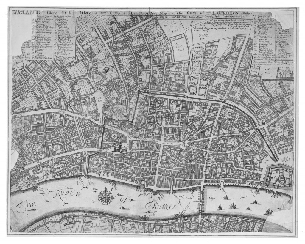 Map of London in 1676, showing rebuild (c) Museum of London
