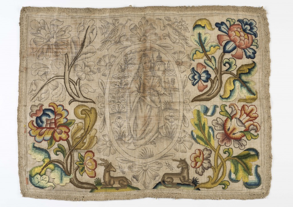 Needlework panel reputedly saved from Great Fire of London (c) Museum of London