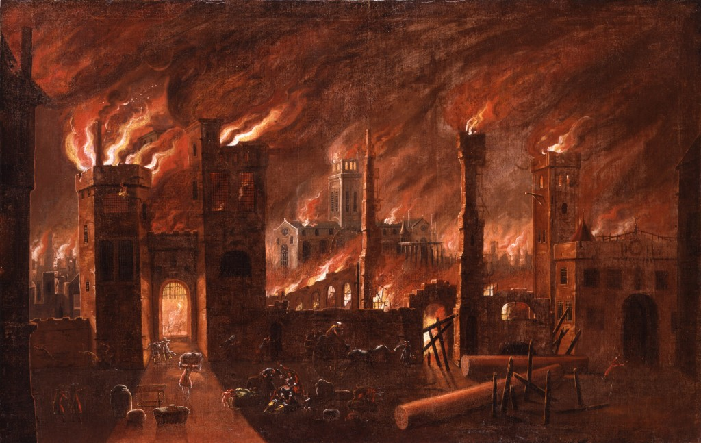 The Great Fire of London, 1666. Oil on canvas. This painting derives from an original by Jan Griffier the Elder (c. 1645/52-1718), it is not dated or signed. The Great Fire of London started in a baker's shop in Pudding Lane in the early hours of of Sunday 2 September 1666 and raged for the next four days destroying four-fiths of the city walls. This painting depicts the cataclysmic scale of the disaster