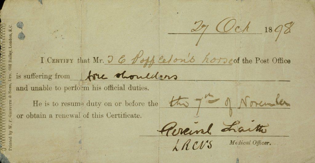 Horse's sick note, 1898