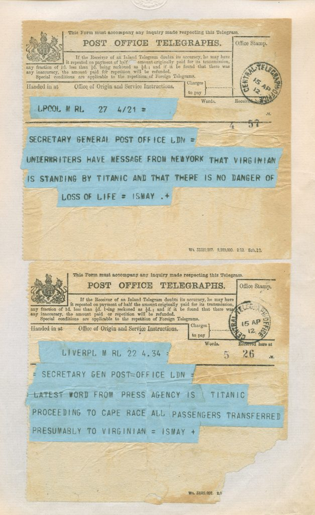 Telegrams received by the Post Office reporting the unfolding disaster of the RMS Titanic on 15th April 1912.