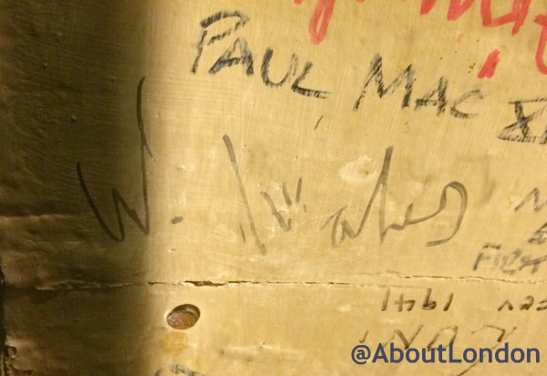 "Prince William's signature on the ceiling at The Blue Bell Inn (He wrote ""W. Wales"")"