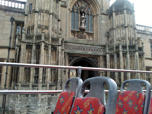 City Sightseeing Oxford bus outside Christ Church College