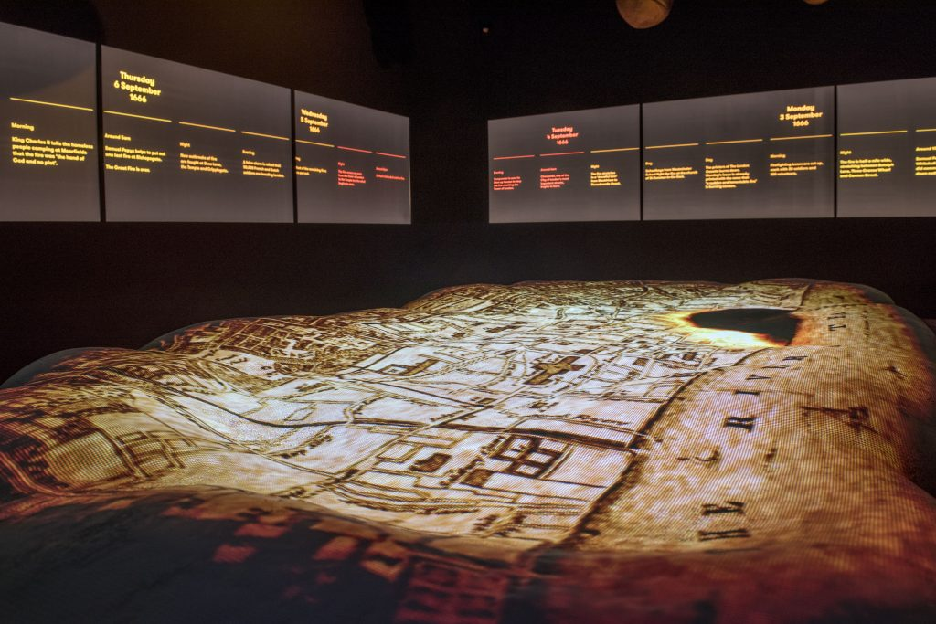 Gallery installation shows the Great Fire spreading across London (c) Museum of London