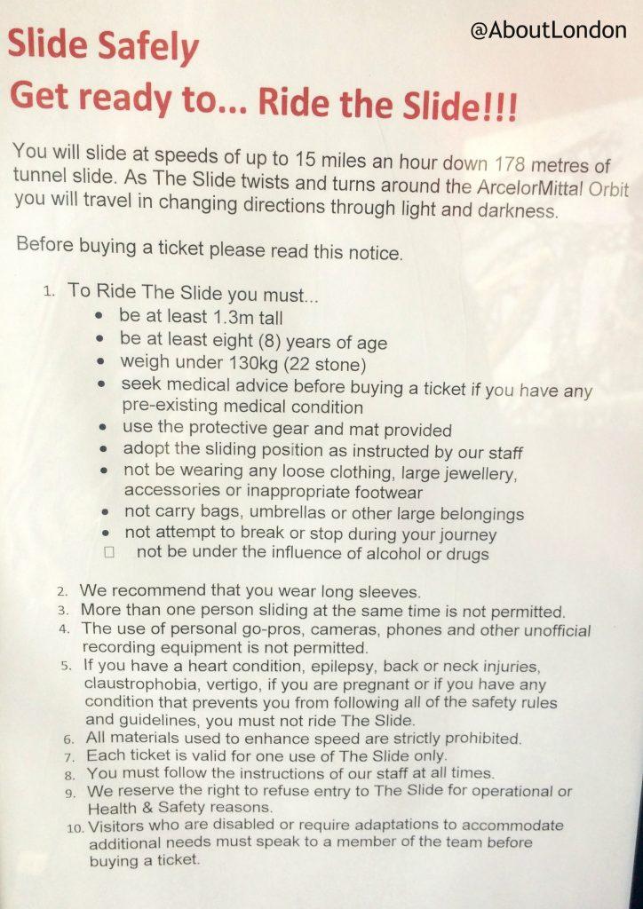 Orbit Slide Safety Rules