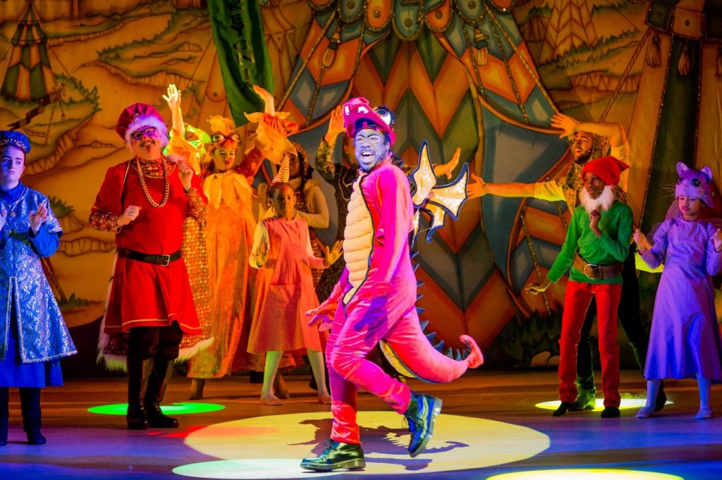 Kat B as Denzil the Dragon in Hackney Empire's Sleeping Beauty