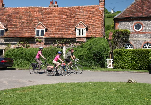 Cyclists in Turville, The Chilterns