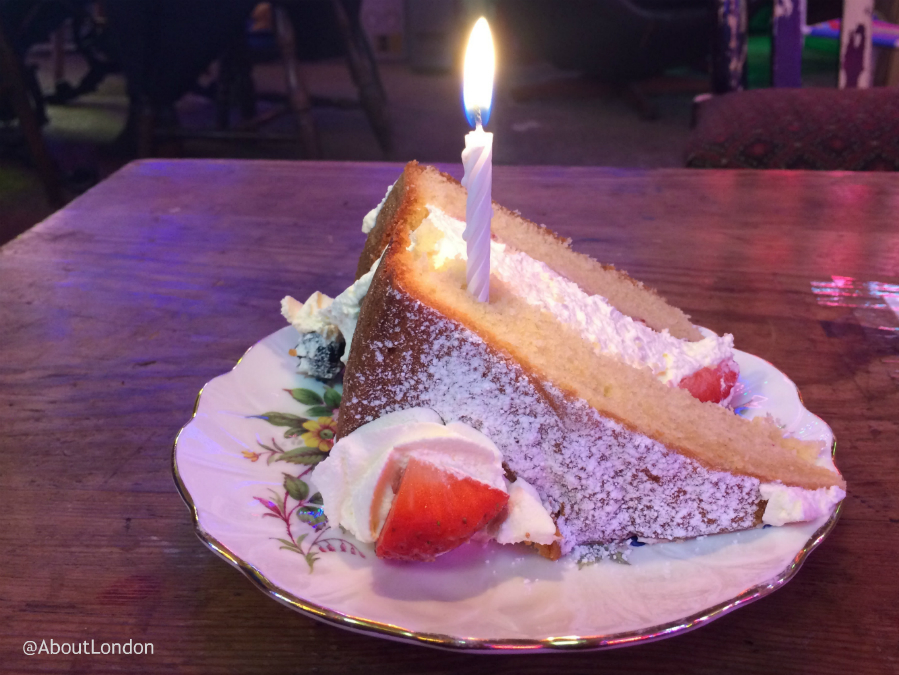 Slice of cake with a candle