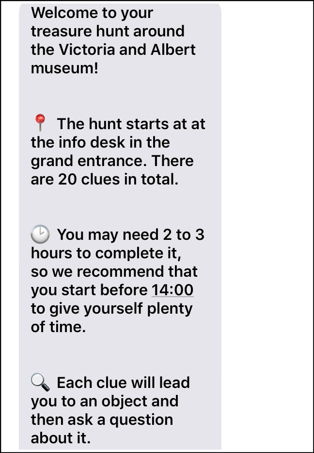 Breadcrumbs V&A Treasure Hunt texts
