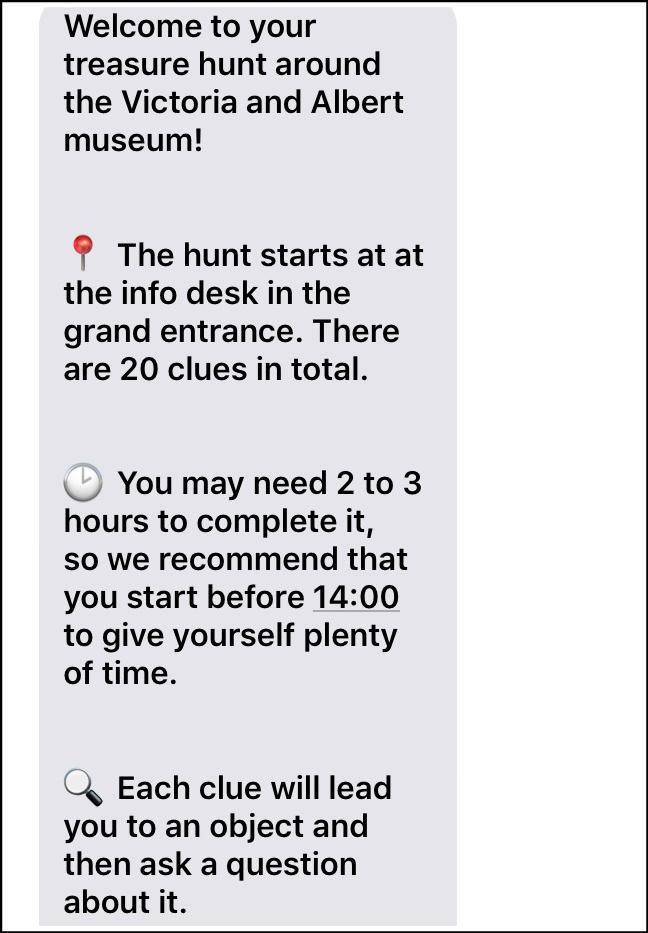 Breadcrumbs V&A Treasure Hunt texts