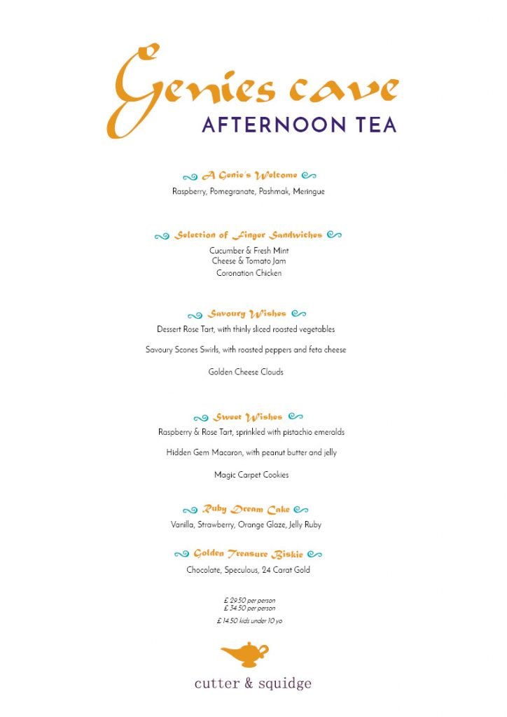 Genie's Cave Afternoon Tea Menu