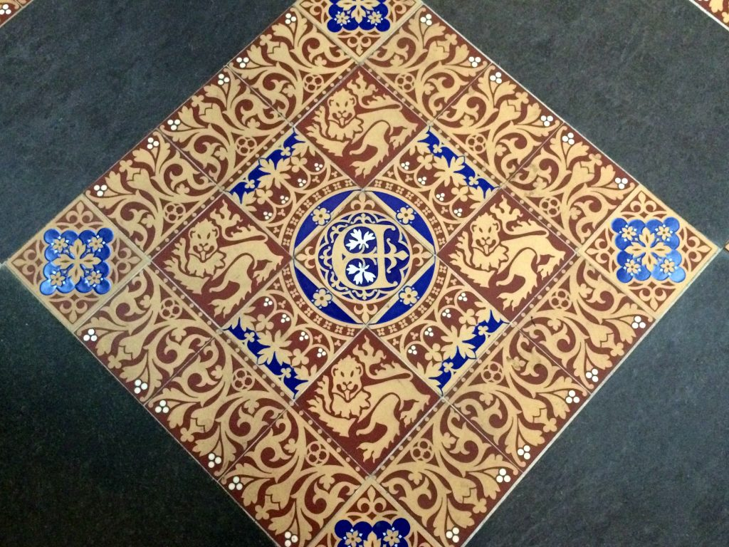 Encaustic floor tiles in St Stephen's Hall, Houses of Parliament