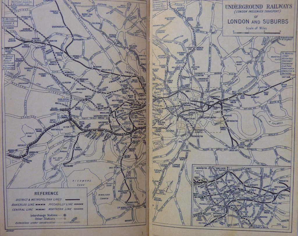 1939 London A-Z London Railways map