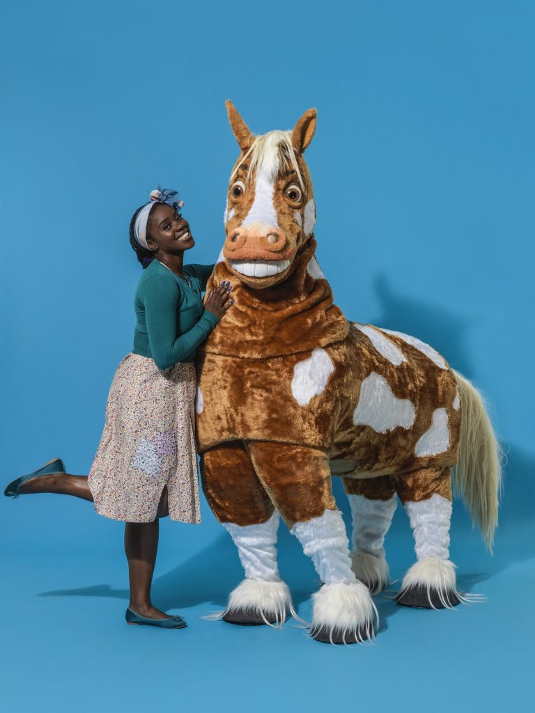 Aisha Jawando and Clapton the Horse in Hackney Empire's Cinderella 2017