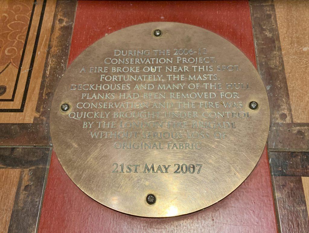 Cutty Sark fire plaque