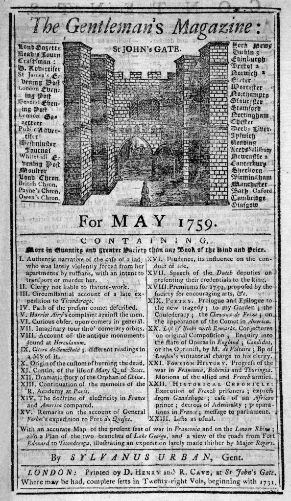 Front page of The Gentleman's Magazine, London, May 1759.